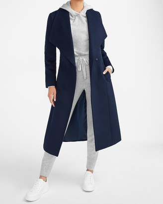 Express Wool-Blend Belted Shawl Collar Wrap Coat