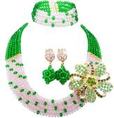 aczuv 5 Rows Royal Blue Yellow Women's Fashion African Beads Nigerian Necklace Bridal Wedding Jewelry Sets