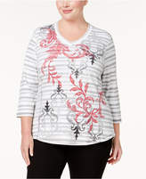 Karen Scott Plus Size Embellished Top, Created for Macy's