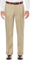 Savane Men's Straight-Fit Stretch Crosshatch Pleated Dress Pants