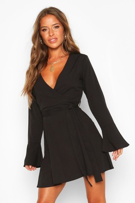 boohoo Petite Woven Long Sleeve Belted Wrap Dress