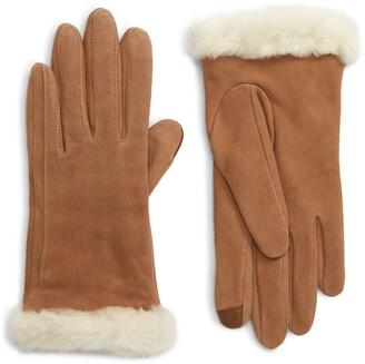 UGG Genuine Shearling Trim Suede Tech Gloves