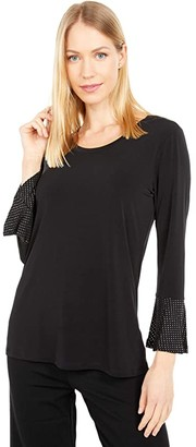 MICHAEL Michael Kors Metallic Dot Cuff Stud Top (Black) Women's Clothing