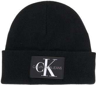 Calvin Klein Jeans Logo Patch Beanie Hat