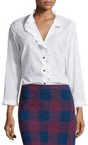 MiH Jeans Laing Ruffle-Trim Shirt, White