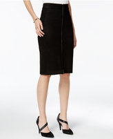 Bar III Faux-Suede Zip-Front Pencil Skirt, Only at Macy's