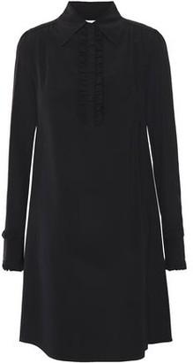 McQ Ruffle-trimmed Silk Crepe De Chine Mini Shirt Dress