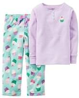 Carter's Baby Girls' 2-Piece Cotton & Fleece Pajama Set (12 Months, Cupcake) by