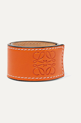 Loewe Logo-embossed Leather Bracelet - Orange
