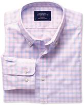 Charles Tyrwhitt Extra slim fit non-iron poplin pink and sky blue check shirt