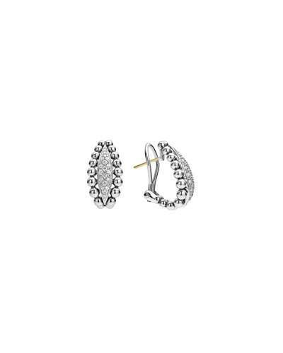 Lagos 22mm Caviar Spark Diamond Huggie Hoop Earrings