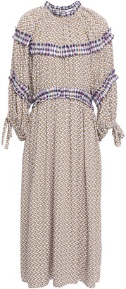 Hofmann Copenhagen Ruffled Seersucker-trimmed Woven Midi Dress