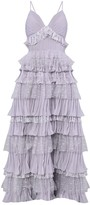 True Decadence Lilac Grey Plunge Front Lace Tiered Ruffle Maxi Dress