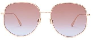 Christian Dior Diorbydior Chain-edge Square Metal Sunglasses - Womens - Blue Gold