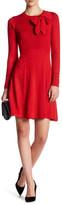 Eliza J Long Sleeve Bow Fit & Flare Sweater Dress