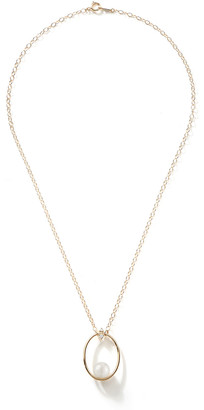 Mizuki 14k Gold Small Pearl & Diamond Oval Pendant Necklace