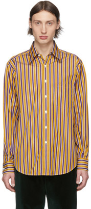 Cobra S.C. Purple and Yellow Stripe Rounded Collar Shirt
