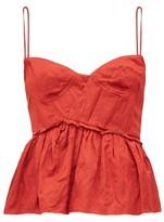Brock Collection Peplum-hem Satin Bustier Top - Womens - Red