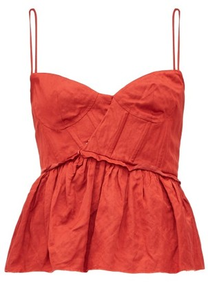Brock Collection Peplum Hem Satin Bustier Top - Womens - Red