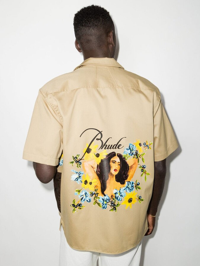 Thumbnail for your product : Rhude Neutrals Cigar Printed Short Sleeve Shirt