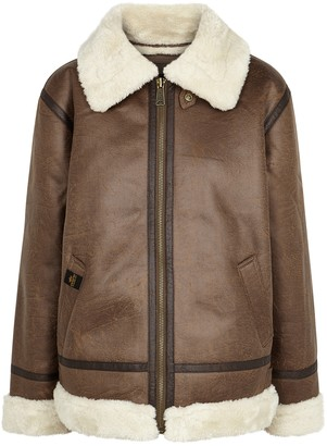 Alpha Industries B3 Brown Faux Leather Jacket