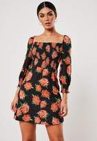 Missguided Black Floral Print Shirred Waist Skater Dress