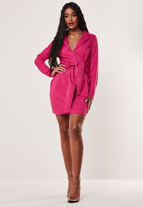 Missguided Pink Tie Front Stretch Blazer Dress