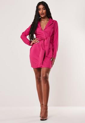 Missguided Pink Tie Front Stretch Blazer Dress