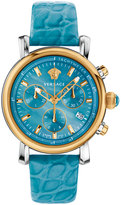 Versace Day Glam Chronograph Watch w/ Leather Strap, Golden/Turquoise