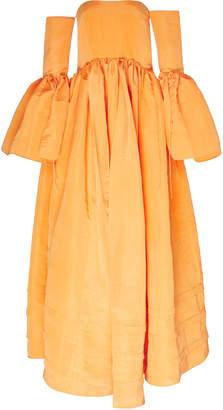 Rosie Assoulin Ruffled Off-The-Shoulder Silk-Blend Gown