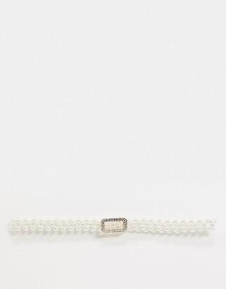 Asos DESIGN pearl embellished stretch belt