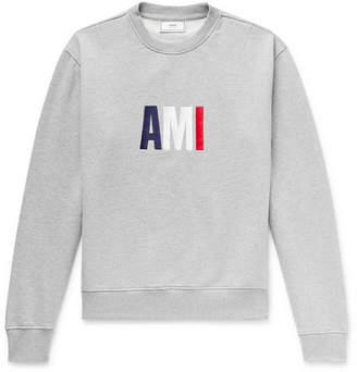 Ami Slim-Fit Logo-Embroidered Loopback Cotton-Jersey Sweatshirt