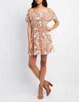 Charlotte Russe Floral Off-The-Shoulder Tied Dress