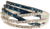 Savvy Cie Blue & White Diamond Crossed Pave Bands Ring - 0.25 ctw