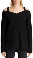 AllSaints Dasha Cold-Shoulder V-Neck Sweater