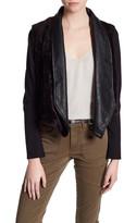 Jack Faux Leather Faux Fur Drape Front Jacket