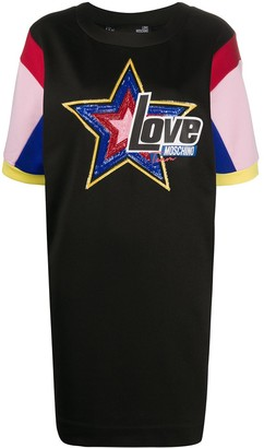 Love Moschino sequinned-star T-shirt dress