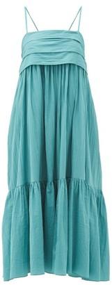 Loup Charmant Iliana Tie-back Organic-cotton Midi Dress - Womens - Blue
