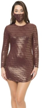 B. Darlin Juniors' Sequined Bodycon Dress & Face Mask