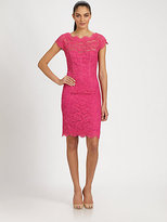 Monique Lhuillier Diamond-Back Lace Dress