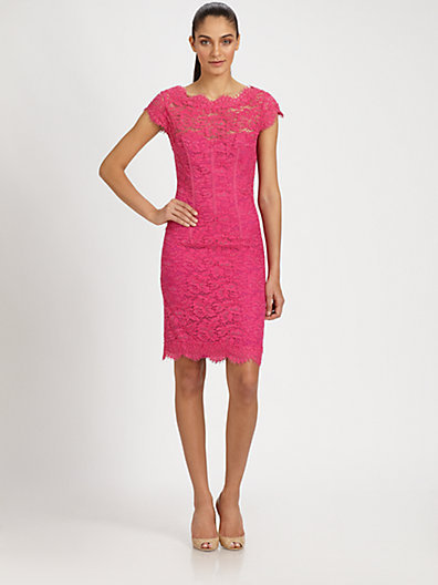 Monique Lhuillier ML Diamond-Back Lace Dress
