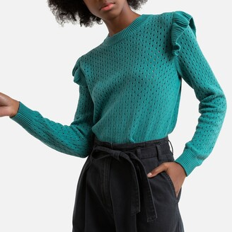 Pepe Jeans Fine Openwork Knit Cotton Jumper with Ruffled Shoulders