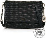 DKNY Medium Flap Leather Quilted Cross-Body Bag- Black