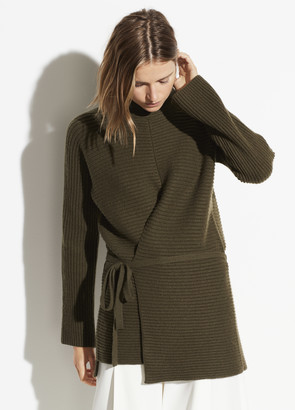 Vince Wool Cashmere Tie Front Tunic