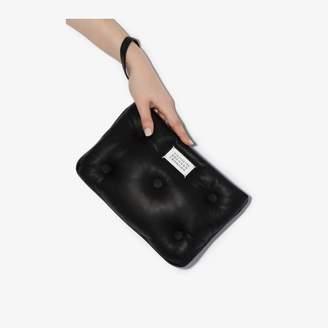 Maison Margiela black padded leather clutch bag