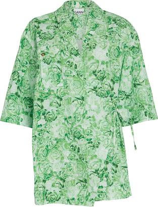 Ganni Floral Cotton Poplin Wrap Top
