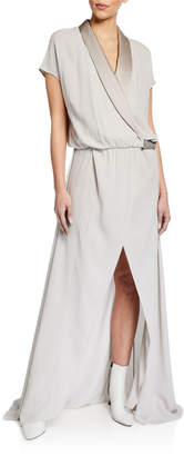 Brunello Cucinelli Silk Tuxedo Dress with Monili Tab