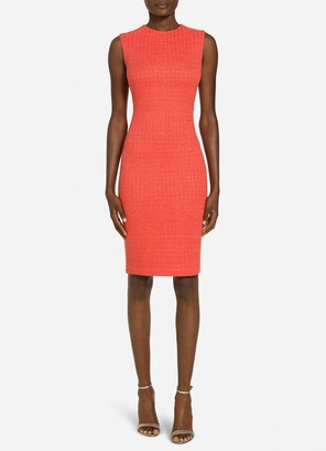 St. John Ribbon Textured Windowpane Knit Dress