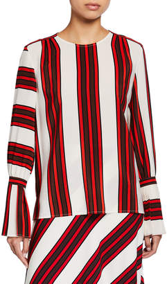 Tory Burch Striped Flare-Sleeve Silk Blouse