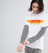 Vans Double Layer T-Shirt With Checkerboard Sleeves In White Exclusive To ASOS